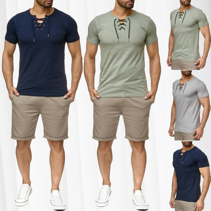 Sublevel Herren T-Shirt Short Sleeve Meliert H2189 – Bild 1