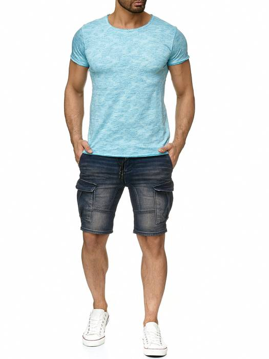 Sublevel Herren T Shirt Palmen Blätter Muster Farbeffekt H2191 – Bild 3