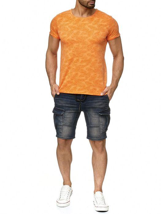 Sublevel Herren T Shirt Palmen Blätter Muster Farbeffekt H2191 – Bild 7