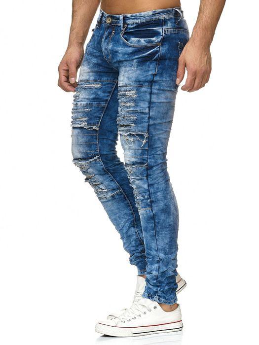Herren Jeans Hose Destroyed Ripped Camouflage H2203 – Bild 4