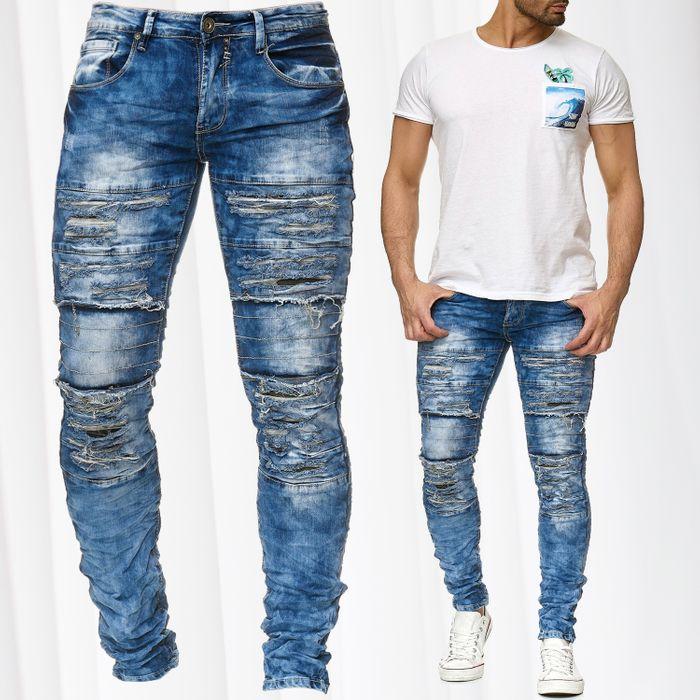 Herren Jeans Hose Destroyed Ripped Camouflage H2203 – Bild 1