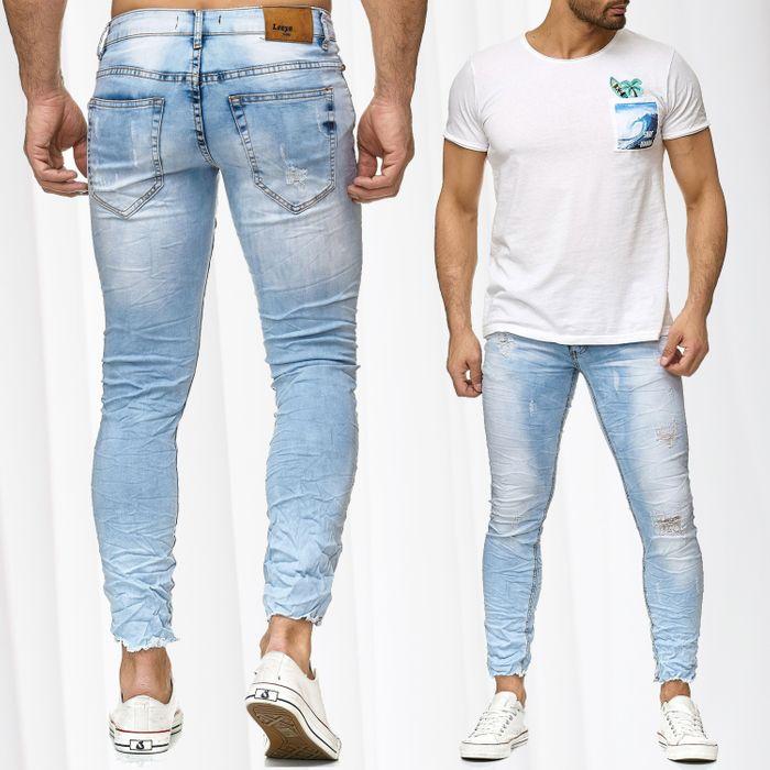 Herren Jeans Hose Offener Saum Destroyed Look Used Denim H2205 – Bild 1