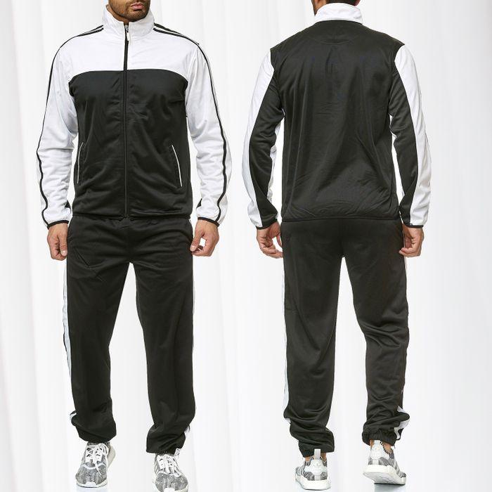 Herren Trainingsanzug Zweiteiler Jogginganzug Kontrast Sweat Kombi Set H2217 – Bild 1