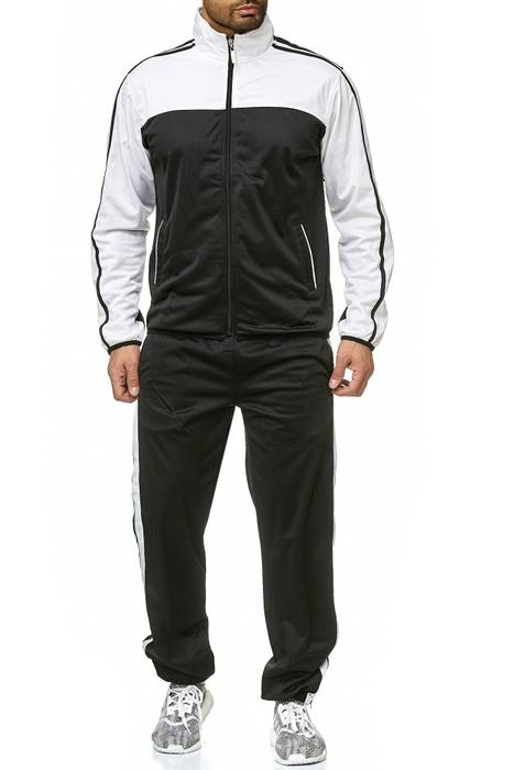 Herren Trainingsanzug Zweiteiler Jogginganzug Kontrast Sweat Kombi Set H2217 – Bild 2