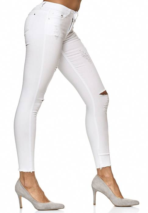MISS ROSE Damen Treggings Destroyed Stretch Jeans Hose D2219 – Bild 9