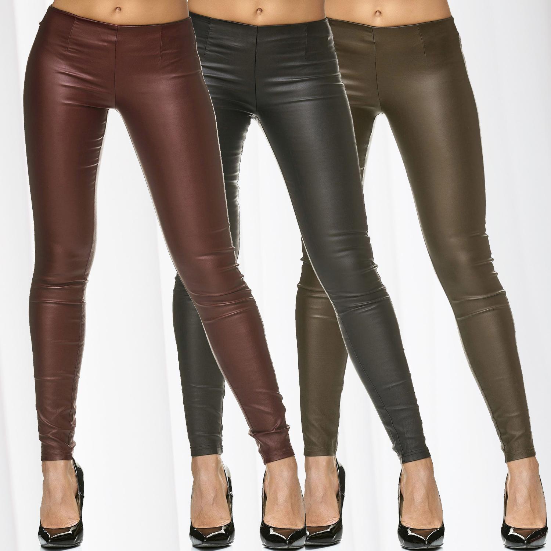 Treggings da Donna in PELLE FAUX BIKER Jeggings SLIM Lederhose Pantaloni Stretch Skinny Nuovo