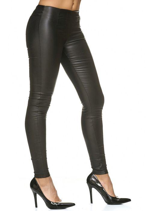 Damen Lederhose Kunstleder Stretch Skinny Treggings D2220 – Bild 14
