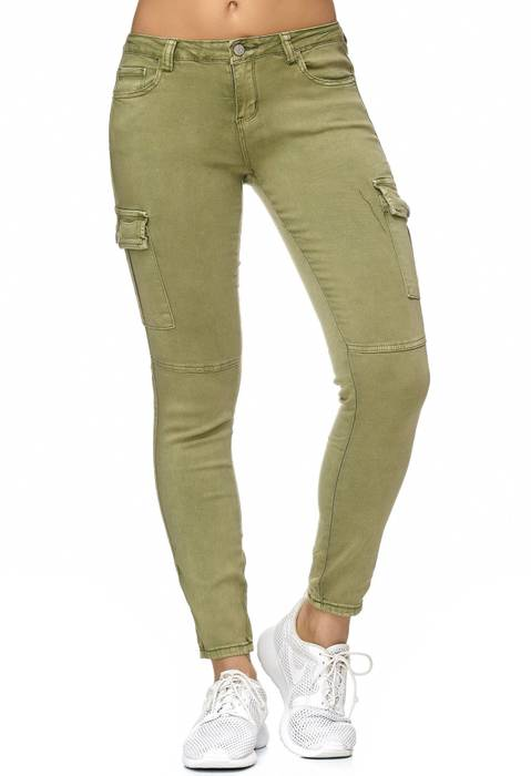 Damen Treggings Cargo Stretch Skinny Jeans Hose D2222 – Bild 2