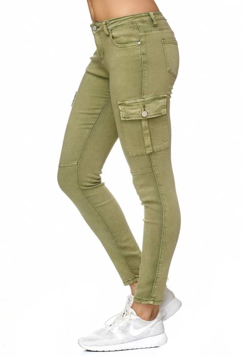 Damen Treggings Cargo Stretch Skinny Jeans Hose D2222 – Bild 3