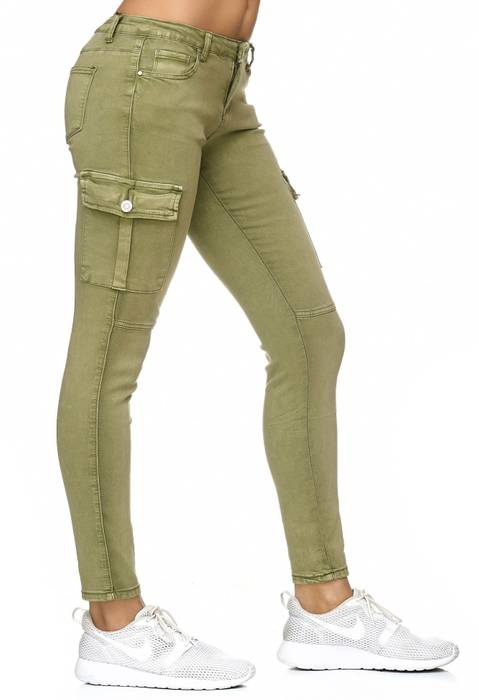 Damen Treggings Cargo Stretch Skinny Jeans Hose D2222 – Bild 4