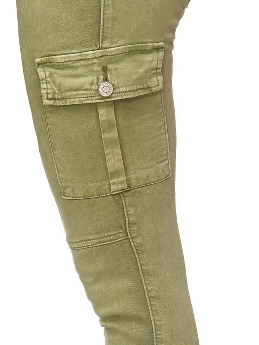 Damen Treggings Cargo Stretch Skinny Jeans Hose D2222 – Bild 6