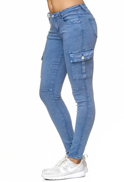 Damen Treggings Cargo Stretch Skinny Jeans Hose D2222 – Bild 13