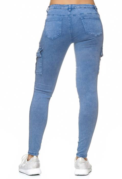 Damen Treggings Cargo Stretch Skinny Jeans Hose D2222 – Bild 15
