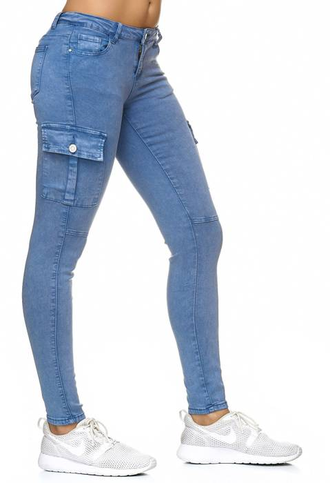 Damen Treggings Cargo Stretch Skinny Jeans Hose D2222 – Bild 14