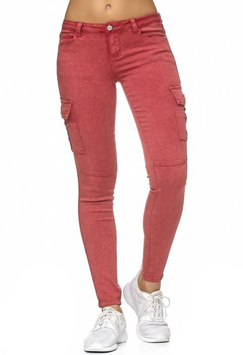 Damen Treggings Cargo Stretch Skinny Jeans Hose D2222 – Bild 22