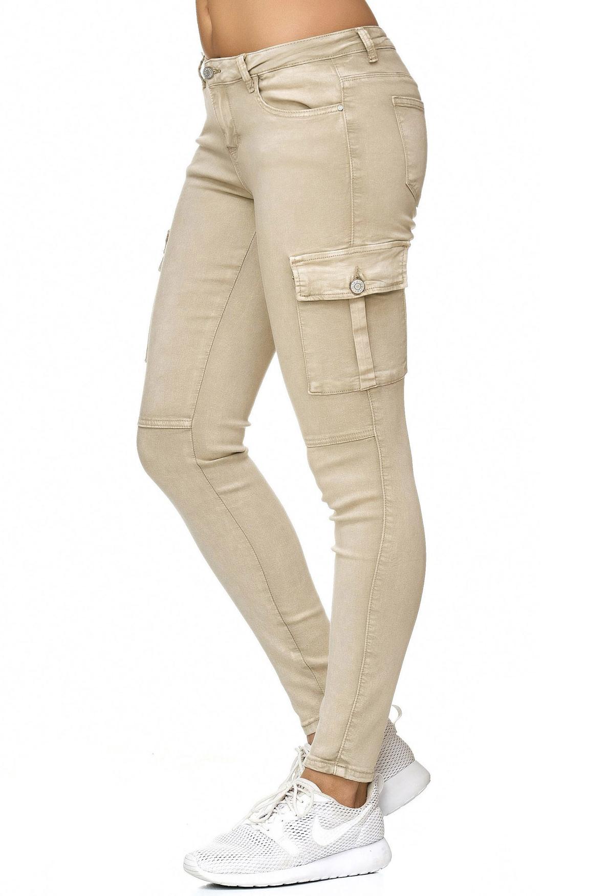 Damen Cargo Hose Stretch Treggings Vintage Jeggings Skinny Nina Carter Röhre Neu