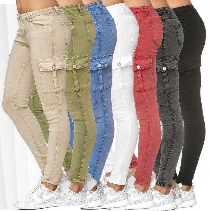 Damen Treggings Cargo Stretch Skinny Jeans Hose D2222 – Bild 1
