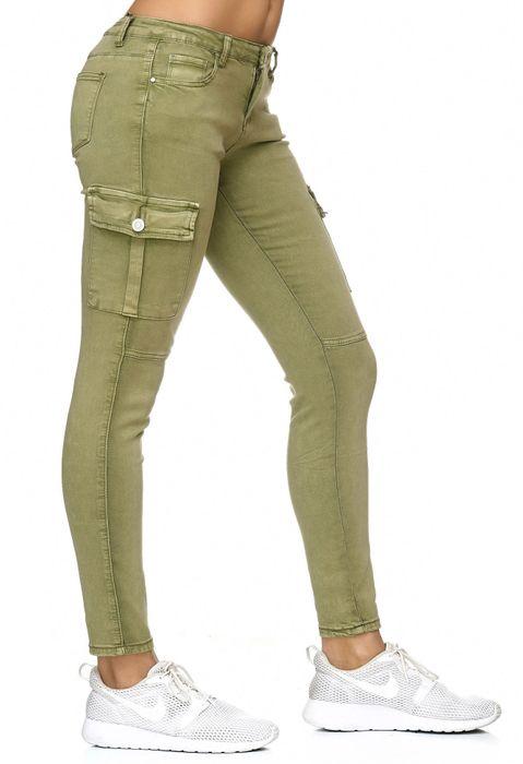 Damen Treggings Cargo Stretch Skinny Jeans Hose D2222 – Bild 4