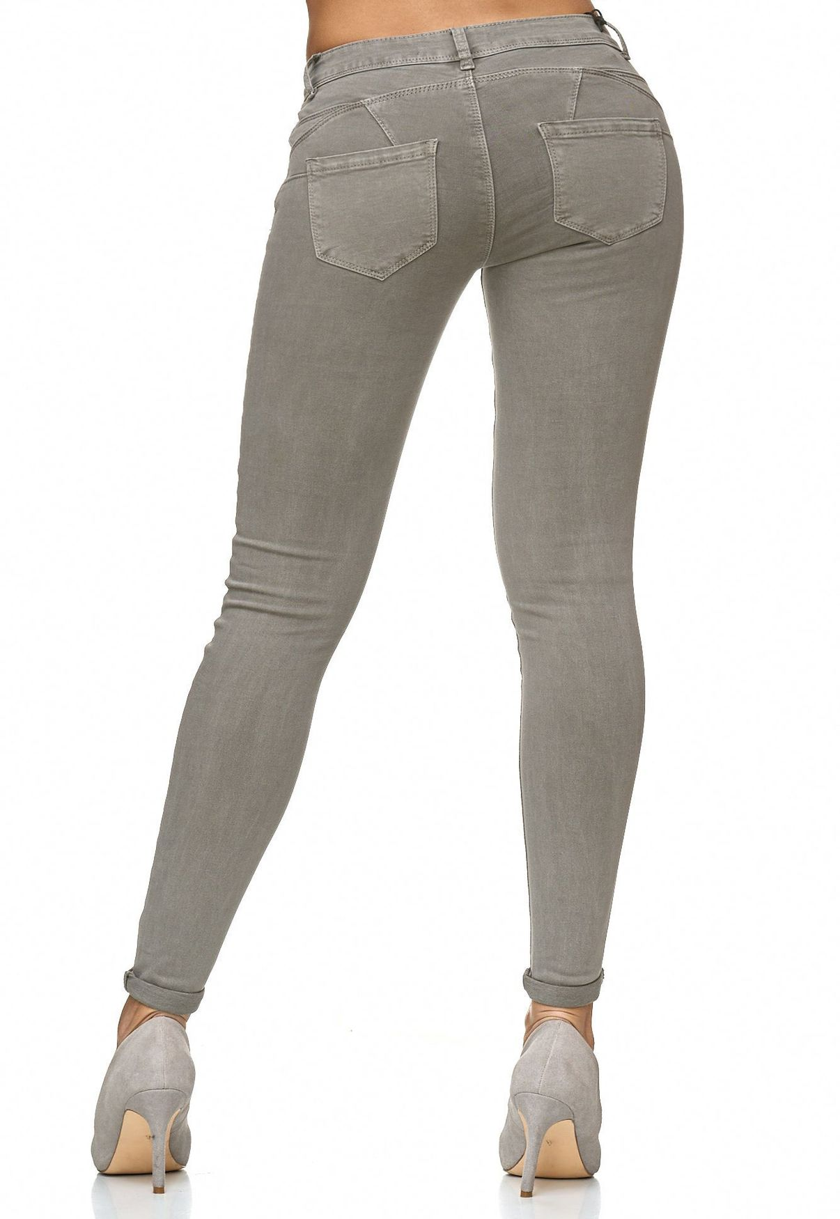 Jeans Röhre 34 36 38 40 42 grey used High Waist Stretchjeans Jeggings