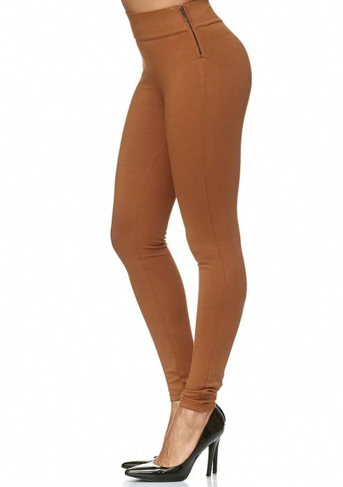 Damen Treggings Stretch High Waist Zip Hose D2226 – Bild 13