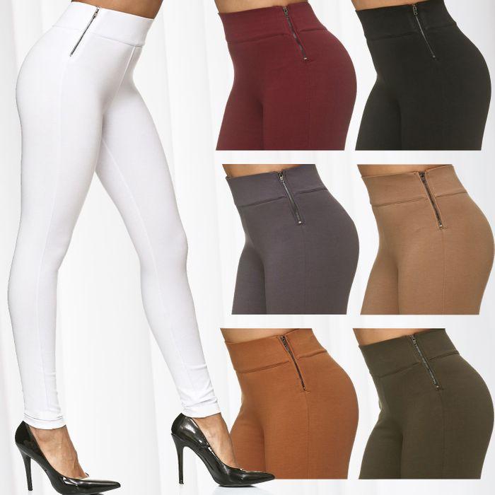 Damen Treggings Stretch High Waist Zip Hose D2226 – Bild 1