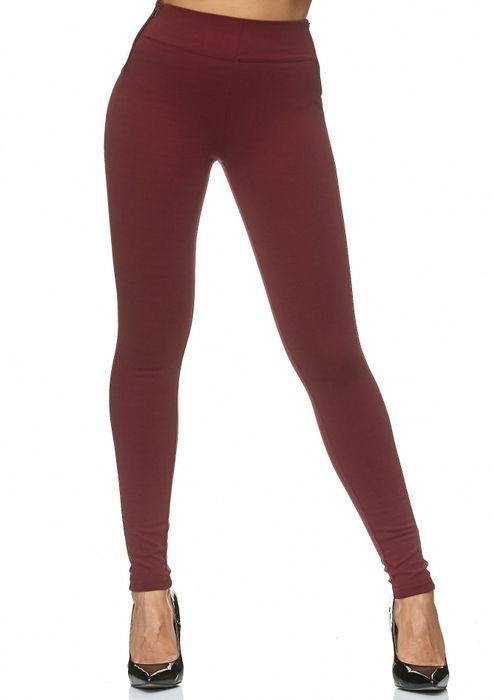 Damen Treggings Stretch High Waist Zip Hose D2226 – Bild 2