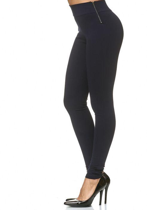 Damen Treggings Stretch High Waist Zip Hose D2226 – Bild 8