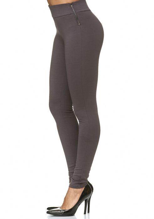 Damen Treggings Stretch High Waist Zip Hose D2226 – Bild 18