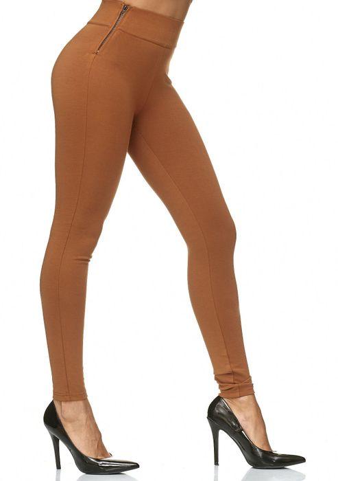 Damen Treggings Stretch High Waist Zip Hose D2226 – Bild 14