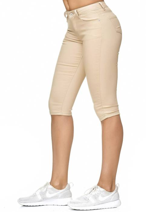 Damen Treggings Capri 3/4 Stretch Chino Jeans Hose D2228 – Bild 3