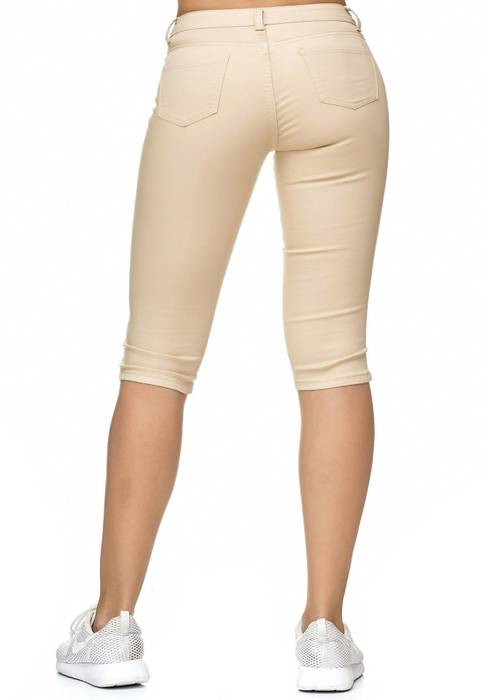 Damen Treggings Capri 3/4 Stretch Chino Jeans Hose D2228 – Bild 5
