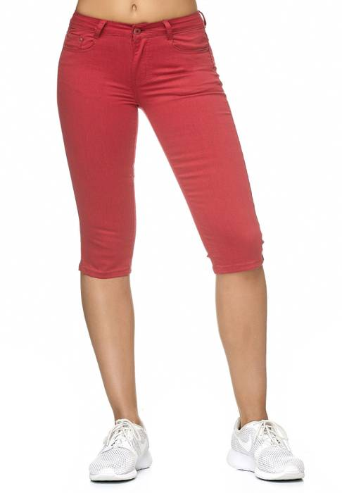 Damen Treggings Capri 3/4 Stretch Chino Jeans Hose D2228 – Bild 7