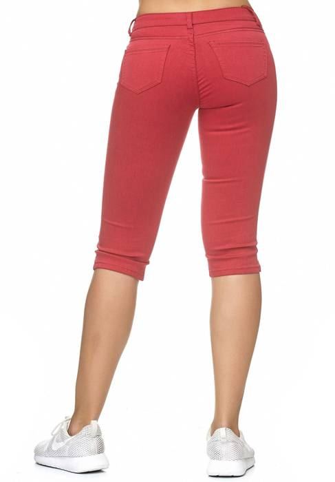 Damen Treggings Capri 3/4 Stretch Chino Jeans Hose D2228 – Bild 10