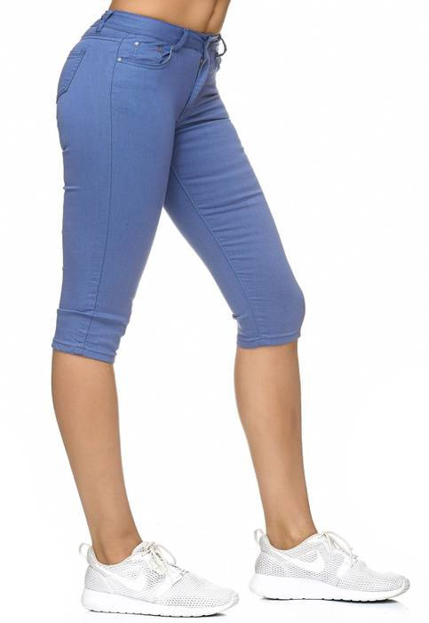 Damen Treggings Capri 3/4 Stretch Chino Jeans Hose D2228 – Bild 14