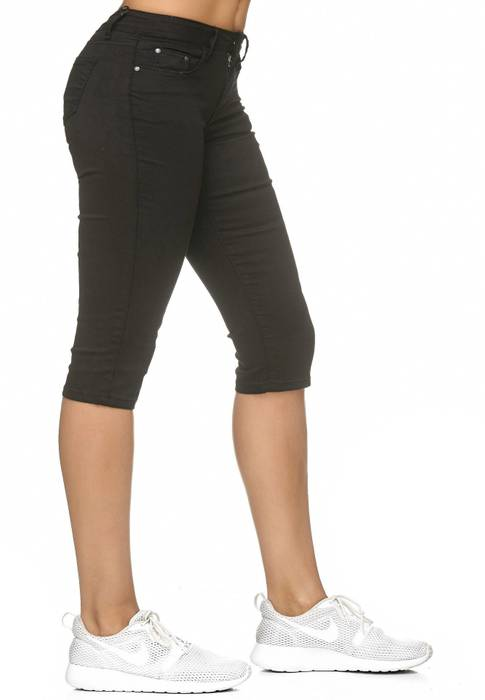 Damen Treggings Capri 3/4 Stretch Chino Jeans Hose D2228 – Bild 24