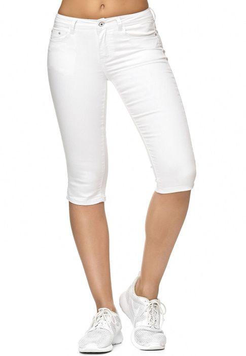 Damen Treggings Capri 3/4 Stretch Chino Jeans Hose D2228 – Bild 17