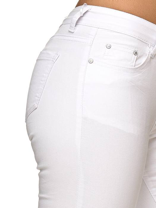 Damen Treggings Capri 3/4 Stretch Chino Jeans Hose D2228 – Bild 21