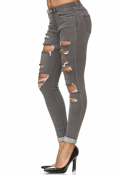 Damen Jeans Ripped Destroyed Stretch Hose D2232 – Bild 8
