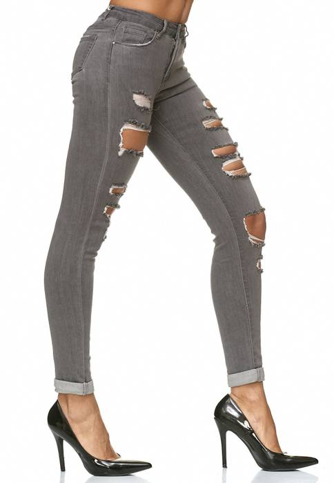 Damen Jeans Ripped Destroyed Stretch Hose D2232 – Bild 9
