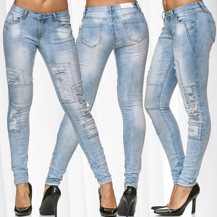 Damen Jeans Hose Ripped Denim Destroyed Stretch D2233 – Bild 1