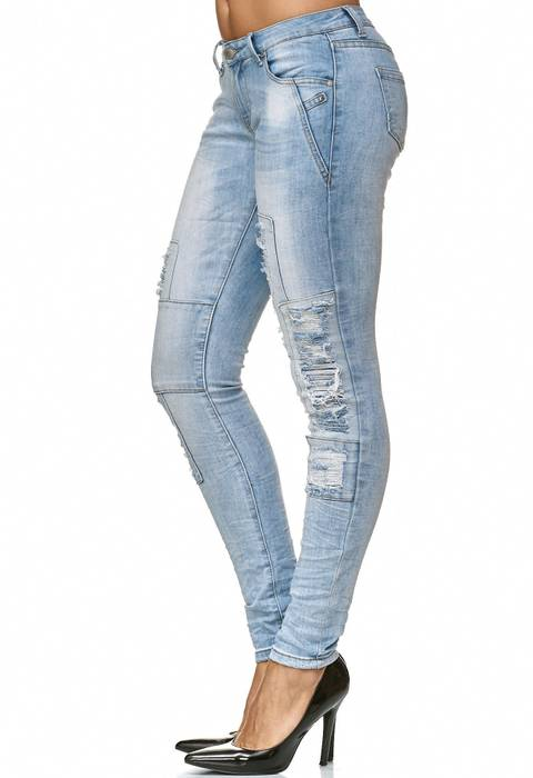Damen Jeans Hose Ripped Denim Destroyed Stretch D2233 – Bild 3