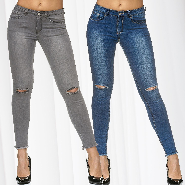 Details zu Damen Stretch Jeans Löcher Destroyed Ripped Hose Skinny Slim fit Zerrissen Röhre