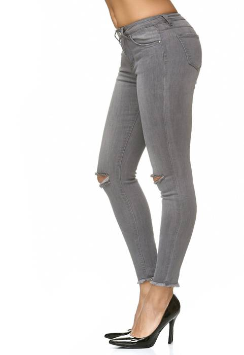 Damen Jeans Stretch Hose Knie Destroyed D2235 – Bild 3