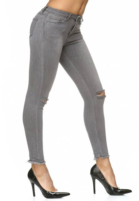Damen Jeans Stretch Hose Knie Destroyed D2235 – Bild 4