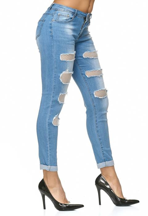 Damen Jeans Netz Cut Out Stretch Hose Zerrissen D2236 – Bild 4