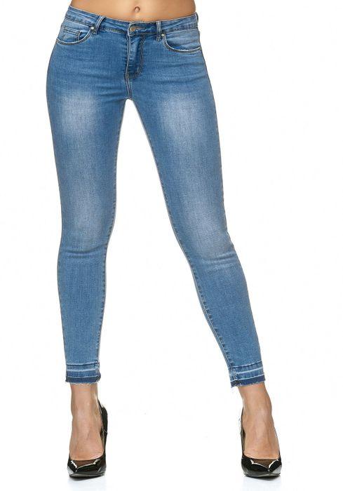 Damen Jeans Offener Saum Ankle Stretch Hose D2237 – Bild 7