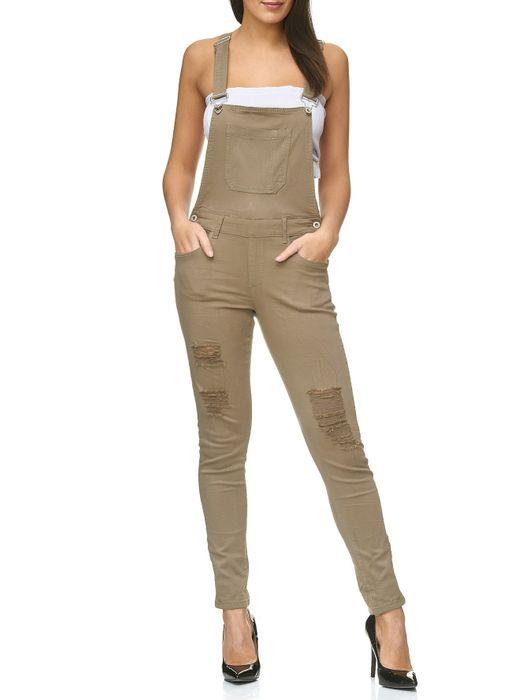 Damen Latzhose Destroyed Skinny Stretch Jeans Hosenträger D2238 – Bild 7
