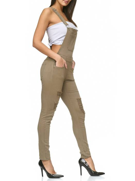 Damen Latzhose Destroyed Skinny Stretch Jeans Hosenträger D2238 – Bild 9