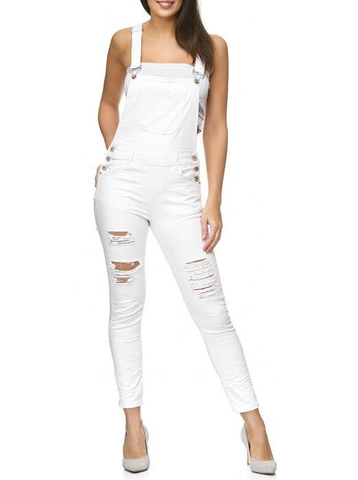 Damen Latzhose Destroyed Skinny Stretch Jeans Hosenträger D2238 – Bild 2