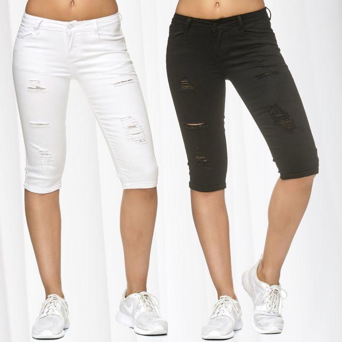 Damen Capri Jeans Shorts 3/4 Kurze Stretch Hose Used D2242